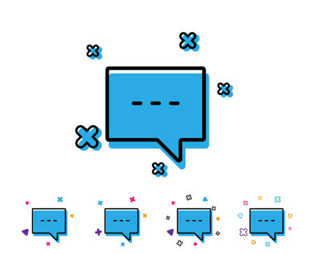 Chat line icon. Speech bubble sign. Communication or Comment symbol. Line icon with geometric elements. Bright colourful design. Vector