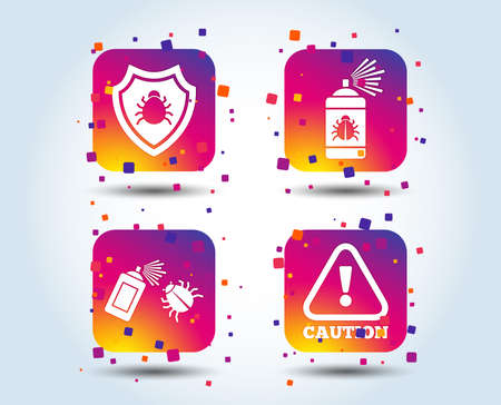 Bug disinfection icons. Caution attention and shield symbols. Insect fumigation spray sign. Colour gradient square buttons. Flat design concept. Vector Stock Illustratie