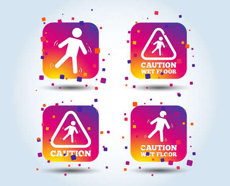 Caution wet floor icons. Human falling triangle symbol. Slippery surface sign. Colour gradient square buttons. Flat design concept. Vector Ilustração