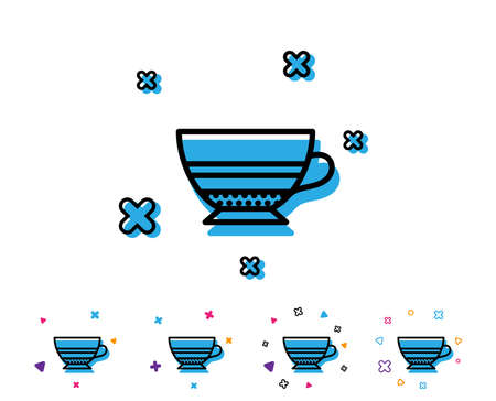 Mocha coffee icon. Hot drink sign. Beverage symbol. Line icon with geometric elements. Bright colourful design. Vector
