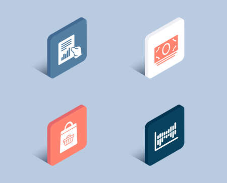 Set of Online buying, Document and Cash money icons. Column diagram sign. Shopping cart, File with diagram, Banking currency. Sale statistics.  3d isometric buttons. Flat design concept. Vector