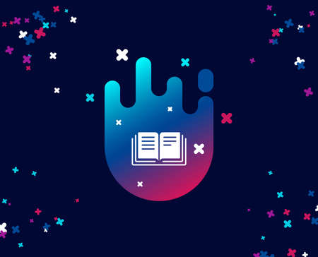 Book simple icon. Education symbol. Instruction or E-learning sign. Cool banner with icon. Abstract shape with gradient. Vector