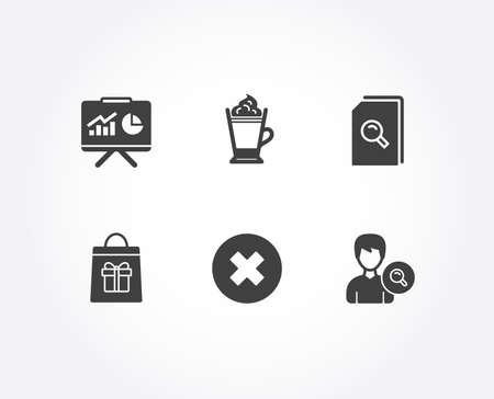 Satz von Präsentations-, Suchdateien und Schließen-Schaltflächensymbolen. Latte-Kaffee, Feiertagseinkäufe und Suchzeichen. Board mit Diagrammen, Lupe, Löschen oder ablehnen. Vektor