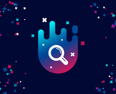 Research simple icon. Magnifying glass symbol. Magnifier sign. Cool banner with icon. Abstract shape with gradient. Vector