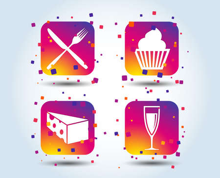 Food icons. Muffin cupcake symbol. Fork and knife sign. Glass of champagne or wine. Slice of cheese. Colour gradient square buttons. Flat design concept. Vector