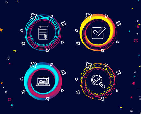 Set of Attachment, Checkbox and Web analytics icons. Analytics sign. Attach file, Approved tick, Statistics. Audit analysis.  Circle banners with line icons. Gradient colors shapes. Vector