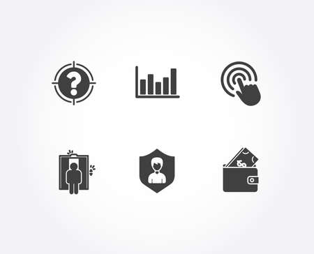 Set of Click, Elevator and Column chart icons. Security agency, Headhunter and Wallet signs. Cursor pointer, Lift, Financial graph. People protection, Aim with question mark, Usd cash. Vector