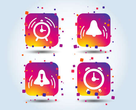 Alarm clock icons. Wake up bell signs symbols. Exclamation mark. Colour gradient square buttons. Flat design concept. Vector
