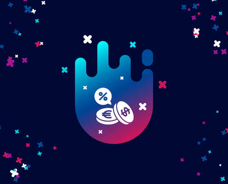 Coins money simple icon. Banking currency sign. Euro and Dollar Cash symbols. Cashback service. Cool banner with icon. Abstract shape with gradient. Vector Illustration