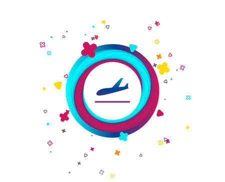 Plane landing icon. Airplane transport symbol. Colorful button with icon. Geometric elements. Vector
