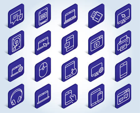 Mobile Devices line icons. Set of Laptop, Tablet PC and Smartphone signs. HDD, SSD and Flash drives. Headphones, Printer and Mouse symbols. Chat speech bubbles. Flat design isometric buttons. Vector 矢量图片