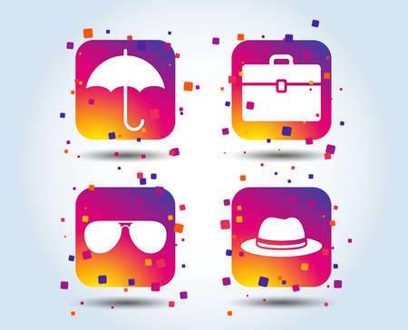 Clothing accessories icons. Umbrella and sunglasses signs. Headdress hat with business case symbols. Colour gradient square buttons. Flat design concept. Vector