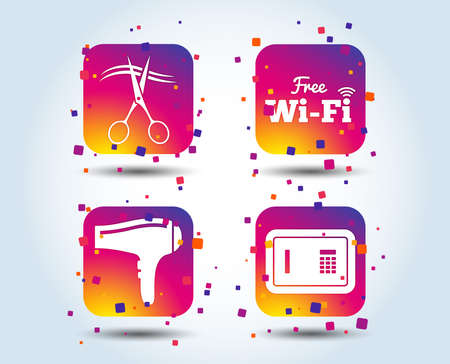 Hotel services icons. Wi-fi, Hairdryer and deposit lock in room signs. Wireless Network. Hairdresser or barbershop symbol. Colour gradient square buttons. Flat design concept. Vector Foto de archivo - 106746981