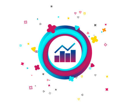 Graph chart sign icon. Diagram symbol. Statistics. Colorful button with icon. Geometric elements. Vector Ilustração
