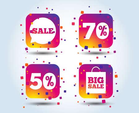 Sale speech bubble icon. 50% and 70% percent discount symbols. Big sale shopping bag sign. Colour gradient square buttons. Flat design concept. Vector