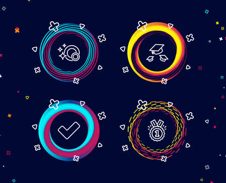 Set of Clean dishes, Throw hats and Tick icons. Approved sign. Dishwasher concept, College graduation, Confirm check. Winner badge.  Circle banners with line icons. Gradient colors shapes. Vector
