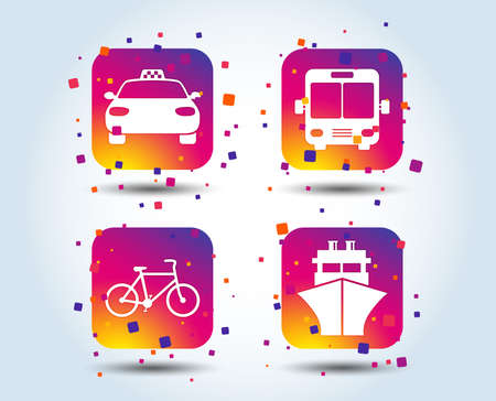 Transport icons. Taxi car, Bicycle, Public bus and Ship signs. Shipping delivery symbol. Family vehicle sign. Colour gradient square buttons. Flat design concept. Vector