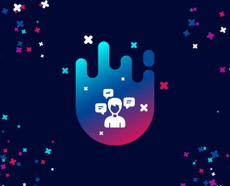 Chat Messages simple icon. Conversation sign. Communication speech bubbles symbol. Cool banner with icon. Abstract shape with gradient. Vector