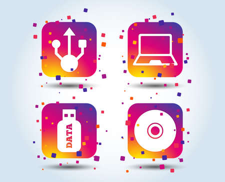Usb flash drive icons. Notebook or Laptop pc symbols. CD or DVD sign. Compact disc. Colour gradient square buttons. Flat design concept. Vector