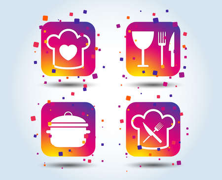 Chief hat with heart and cooking pan icons. Crosswise fork and knife signs. Boil or stew food symbol. Colour gradient square buttons. Flat design concept. Vector Illustration