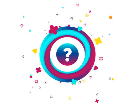 Question mark sign icon. Help symbol. FAQ sign. Colorful button with icon. Geometric elements. Vector