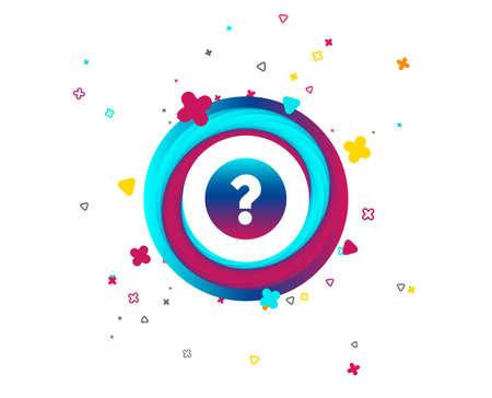 Icona del segno di punto interrogativo. Simbolo di aiuto. Segno di FAQ. Pulsante colorato con icona. Elementi geometrici. Vettore