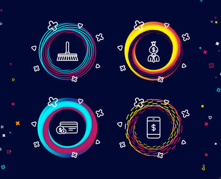Set of Cleaning mop, Payment method and Manager icons. Smartphone payment sign. Sweep a floor, Work profit, Mobile pay.  Circle banners with line icons. Gradient colors shapes. Vector 写真素材 - 106726059
