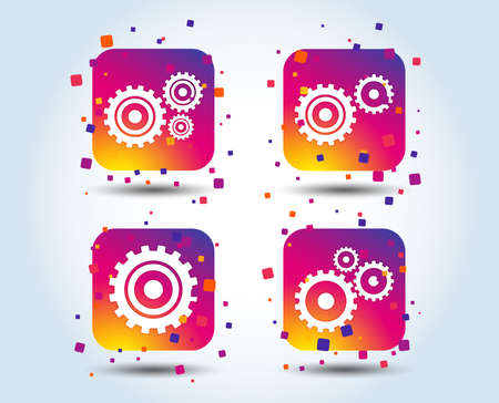 Cogwheel gear icons. Mechanism symbol. Website or App settings sign. Working process performance. Colour gradient square buttons. Flat design concept. Vector Illustration