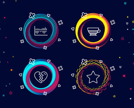 Set of Break up, Mocha and Column diagram icons. Star sign. Divorce, Coffee cup, Sale statistics. Best rank.  Circle banners with line icons. Gradient colors shapes. Vector