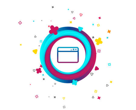 Browser window icon. Internet page symbol. Website empty template sign. Colorful button with icon. Geometric elements. Vector Imagens - 106725983