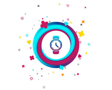 Wrist Watch sign icon. Mechanical clock symbol. Men hand watch. Colorful button with icon. Geometric elements. Vector