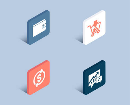 Set of Money wallet, Dollar exchange and Shopping icons. Accounting sign. Payment method, Banking rates, Add to cart. Supply and demand.  3d isometric buttons. Flat design concept. Vector Illustration
