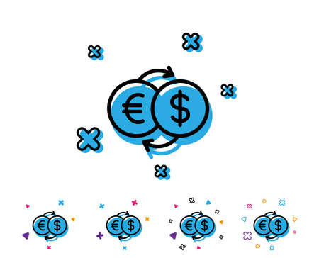 Money exchange line icon. Banking currency sign. Euro and Dollar Cash transfer symbol. Line icon with geometric elements. Bright colourful design. Vector Foto de archivo - 106725898