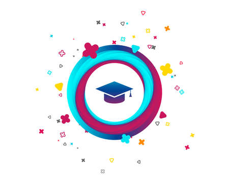 Graduation cap sign icon. Higher education symbol. Colorful button with icon. Geometric elements. Vector