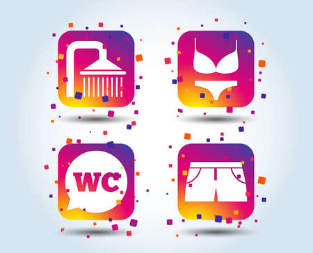 Swimming pool icons. Shower water drops and swimwear symbols. WC Toilet speech bubble sign. Trunks and women underwear. Colour gradient square buttons. Flat design concept. Vector