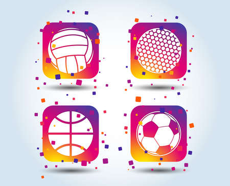 Sport balls icons. Volleyball, Basketball, Soccer and Golf signs. Team sport games. Colour gradient square buttons. Flat design concept. Vector