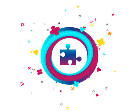 Puzzle piece sign icon. Strategy symbol. Colorful button with icon. Geometric elements. Vector