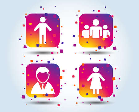 Businessman person icon. Group of people symbol. Man and Woman signs. Colour gradient square buttons. Flat design concept. Vector