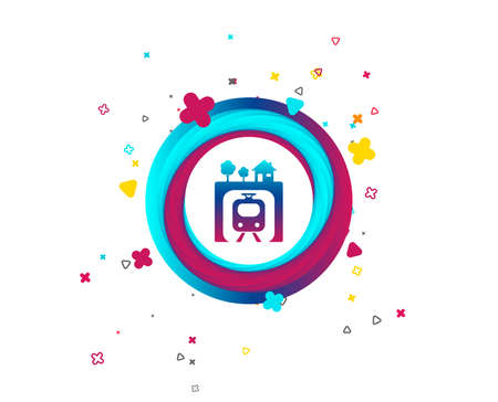 Underground sign icon. Metro train symbol. Colorful button with icon. Geometric elements. Vector Illustration