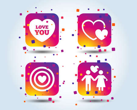 Valentine day love icons. Target aim with heart symbol. Couple lovers sign. Colour gradient square buttons. Flat design concept. Vector