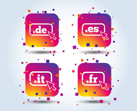 Top-level internet domain icons. De, It, Es and Fr symbols with cursor pointer. Unique national DNS names. Colour gradient square buttons. Flat design concept. Vector