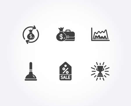 Set of Sale coupon, Salary and Trade chart icons. Money exchange, Plunger and Trophy signs. Discount tag, Diplomat with money bag, Market data. Cash in bag, Clogged pipes cleaner, Winner cup. Vector Stock Illustratie