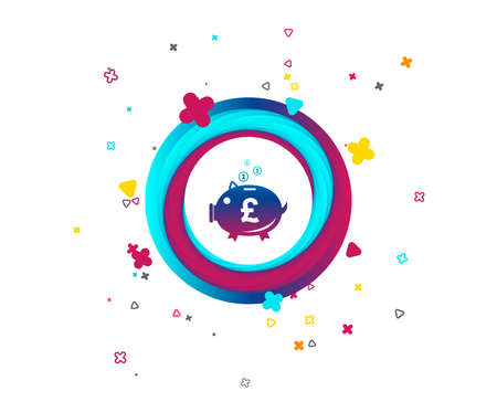 Piggy bank sign icon. Moneybox pound symbol. Colorful button with icon. Geometric elements. Vector Vecteurs