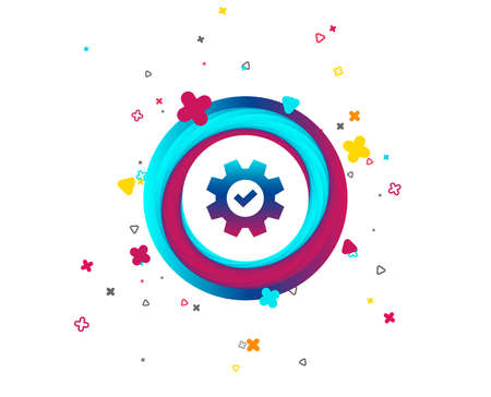 Service icon. Cogwheel with tick sign. Check symbol. Colorful button with icon. Geometric elements. Vector