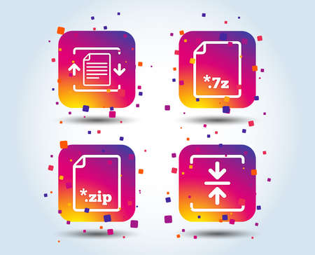 Archive file icons. Compressed zipped document signs. Data compression symbols. Colour gradient square buttons. Flat design concept. Vector Illustration