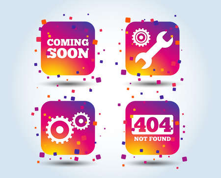 Coming soon icon. Repair service tool and gear symbols. Wrench sign. 404 Not found. Colour gradient square buttons. Flat design concept. Vector Illustration