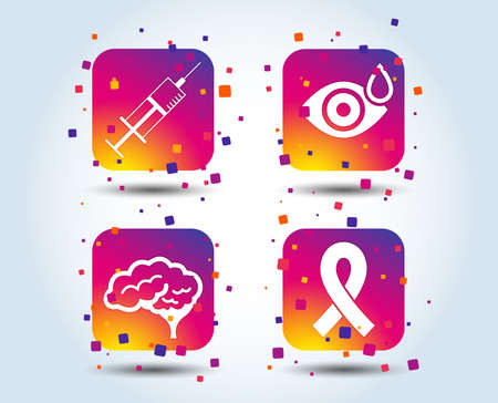 Medicine icons. Syringe, eye with drop, brain and ribbon signs. Breast cancer awareness symbol. Human smart mind. Colour gradient square buttons. Flat design concept. Vector Çizim