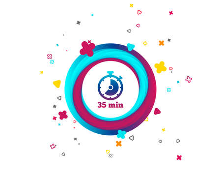 Timer sign icon. 35 minutes stopwatch symbol. Colorful button with icon. Geometric elements. Vector