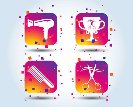 Hairdresser icons. Scissors cut hair symbol. Comb hair with hairdryer symbol. Barbershop winner award cup. Colour gradient square buttons. Flat design concept. Vector