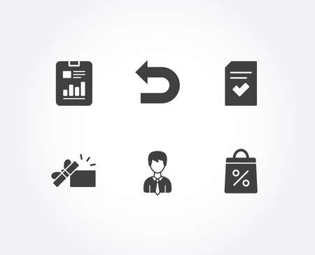 Set of Report document, Checked file and Businessman icons. Undo, Opened gift and Shopping bag signs. Page with charts, Correct document, User data. Left turn, Present box, Supermarket discounts Illustration